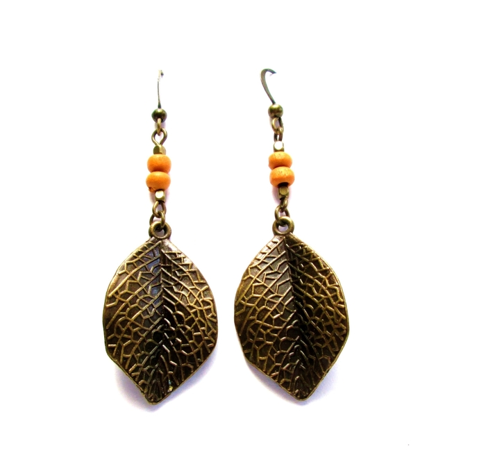 Textured bronze leaf earrings with orange wood beads, fall earrings, unique