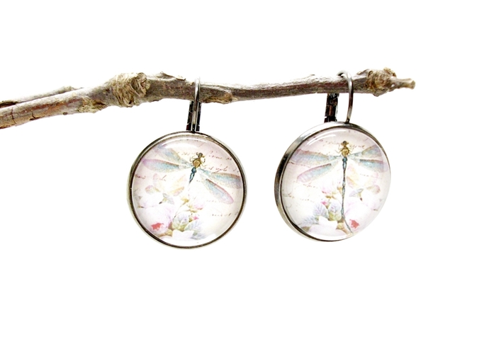 Dragonfly altered art earrings with soft colors, vintage style art earrings,