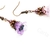 One of a kind lavender lucite trumpet flower earrings with antiqued copper ear