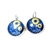 You are my sunshine blue and yellow art earrings, sunflower jewelry, bronze,