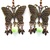 Antiqued copper butterfly earrings with chartreuse green howlite beads, green