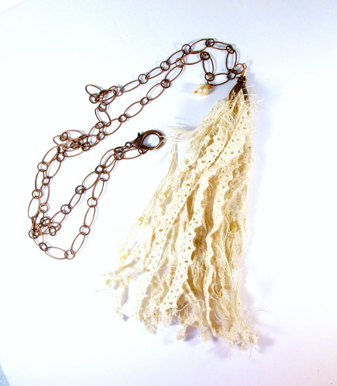Romantic bohemian style tattered lace and muslin tassel necklace, shabby