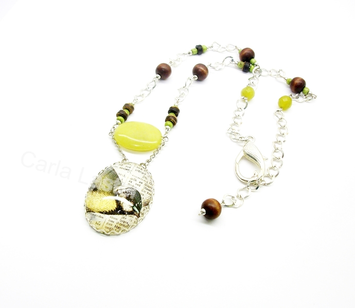 Handmade bird art pendant necklace with olive green lemon jade and wood beads,