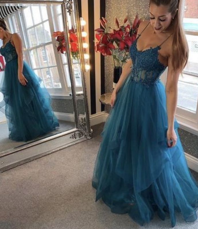 Elegant Prom Dress,Spaghetti Straps Prom Dress,Appliques Prom Dress,A-Line Prom