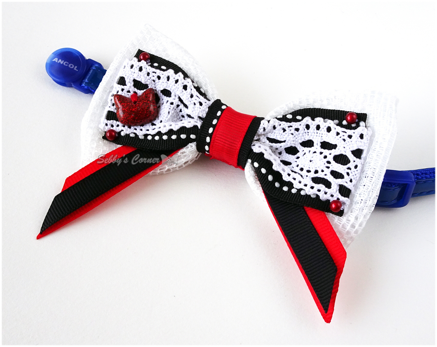 Princess Snow White Handmade Bow Tie for Cats, Black, White, Red, Lace, Winter