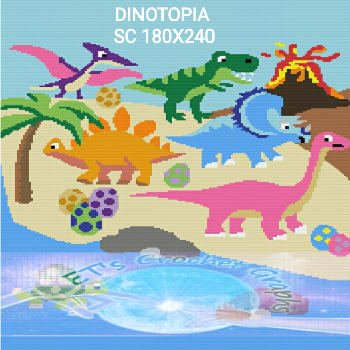 Dinotopia SC 180x240 includes graph with color block instructions