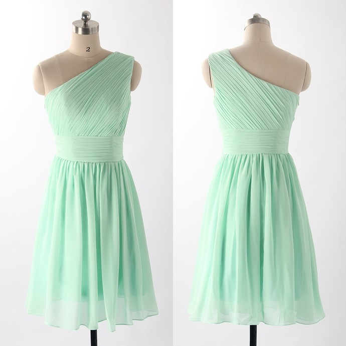 Simple Mint Green One Shoulder Chiffon Short Party Dress, Bridesmaid Dress
