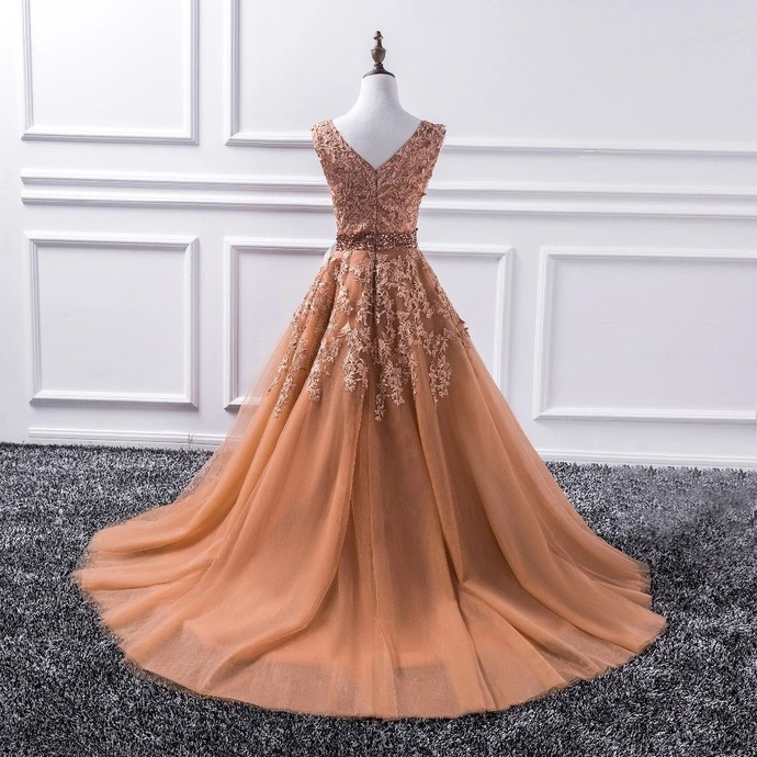Beautiful Champagne V-neckline Lace Applique Beaded Prom Dress, Long Party Dress