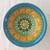 "2.5"" Mini Bowl, Hand painted Starburst Mandala in Aqua & Gold & Green"