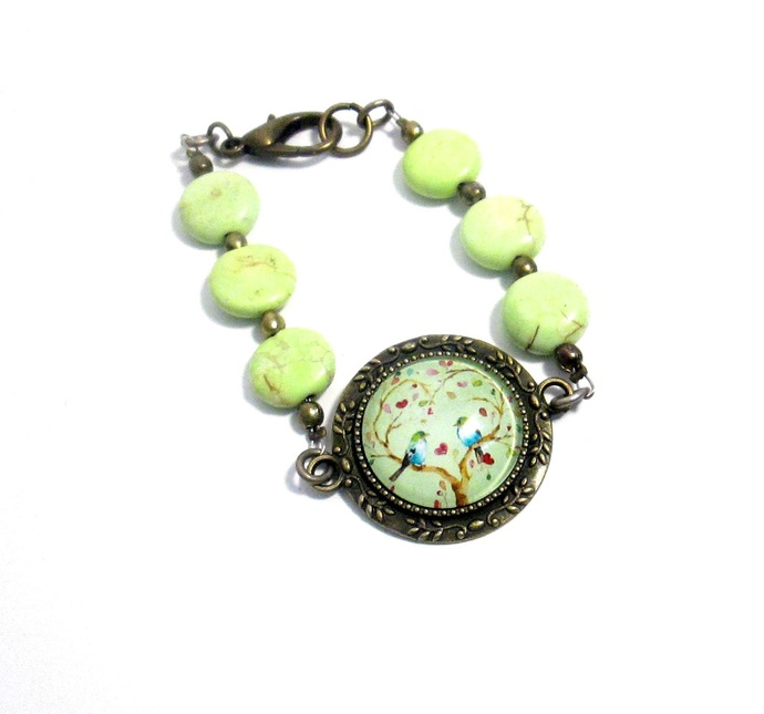 Blue birds in a tree bracelet with chartreuse green howlite and bronze, art