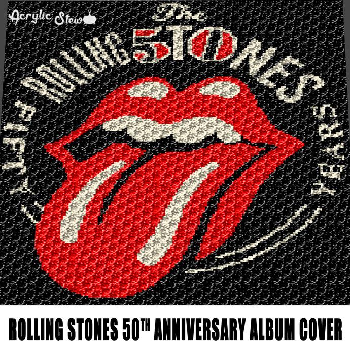 The Rolling Stones 50th Anniversary Album Cover Vintage Music crochet graphgan