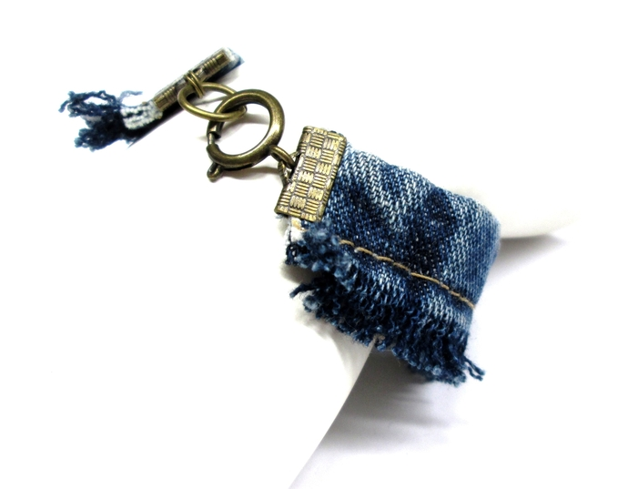 Frayed denim cuff bracelet, boho bracelet, recycled denim, upcycled jewelry,