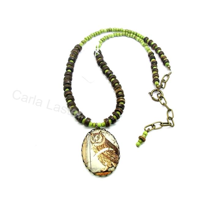 Woodland owl art cameo necklace with handmade glass art cameo, vintage wood
