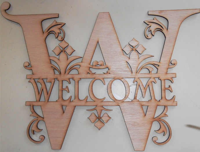 Welcome or Monogram of Your Choice Wood Cut Out / Laser Cut Wood / Personalized