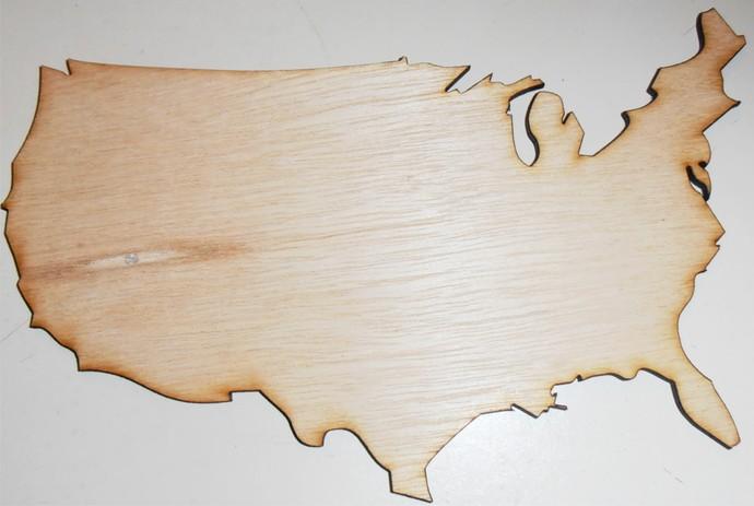 United States/ USA / Wood Cut Out / Laser Cut Wood
