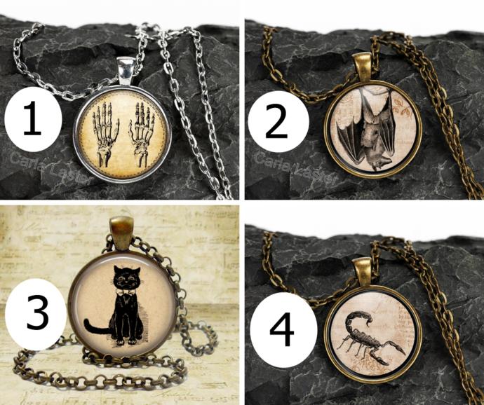 Sepia tone Halloween pendants, Halloween jewelry, Grunge jewelry, Hanging bat,
