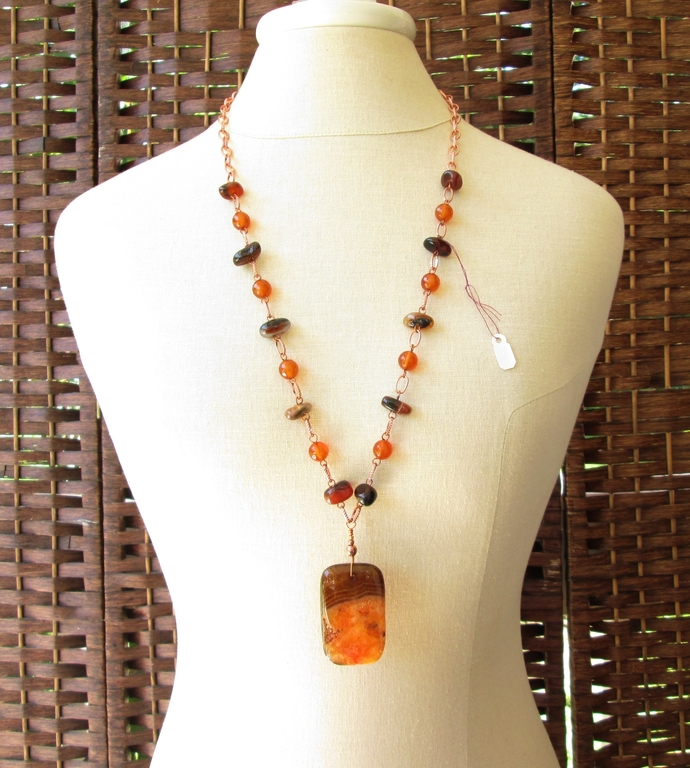 Orange and brown necklace for Fall, natural stone jewelry, carnelian and agate
