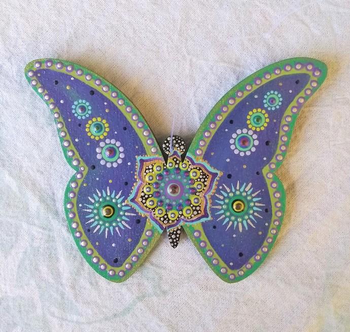 Butterfly Mandala Ornament, Hanging Home Decor Purple