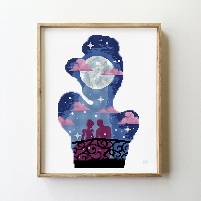Fairytale cross stitch princess nursery fairy counted starry night Silhouette