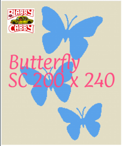 Butterfly  , SC- 200 x 240, Graph and written block row by row pattern, Approx.