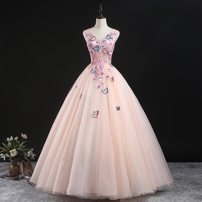 Beautiful Pink Tulle Ball Gown Sweet 16 Gown, Pink Quinceanera Dress