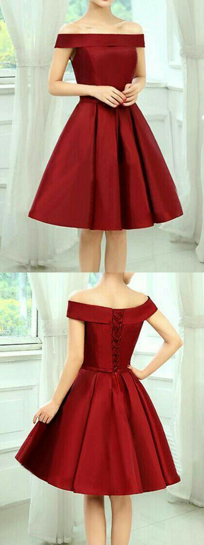Dark Red Simple Off Shoulder Satin Party Dress, Red Homecoming Dress 2021