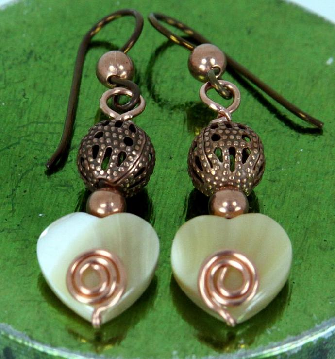 Earrings - Copper with Mother of Pearl Hearts