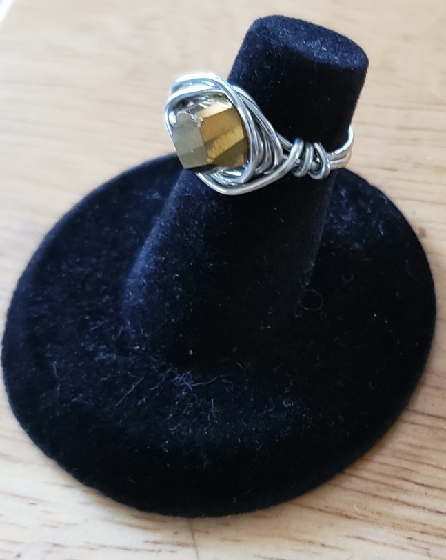 Copper Tone Crystal Wire Wrap Ring