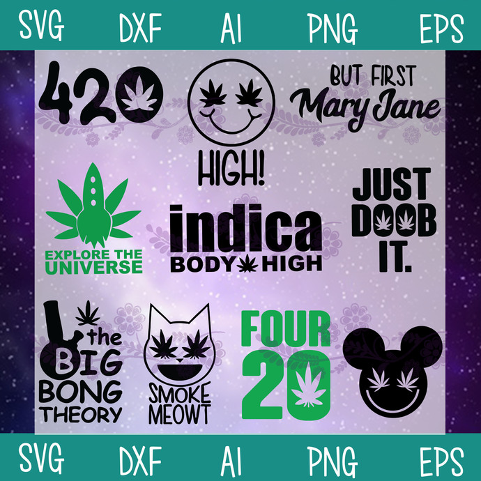 weed svg svg, jpeg, png instant download t-shirt design digital clipart Explore The Universe 420 vector