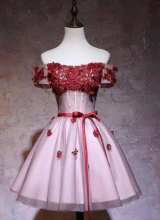 Pink Off Shoulder Tulle with Lace Applique Knee Length Party Dress, Short Prom