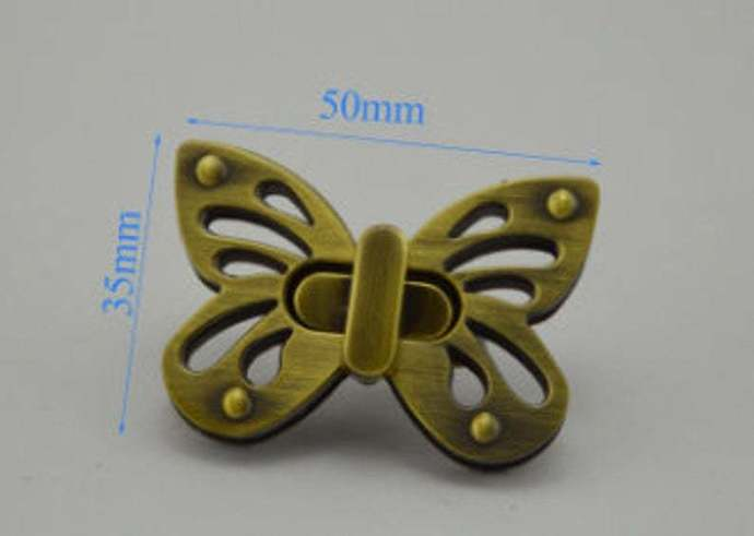 1pcs Alloy Twist lock butterfly antique brass Purse Lock bag lock