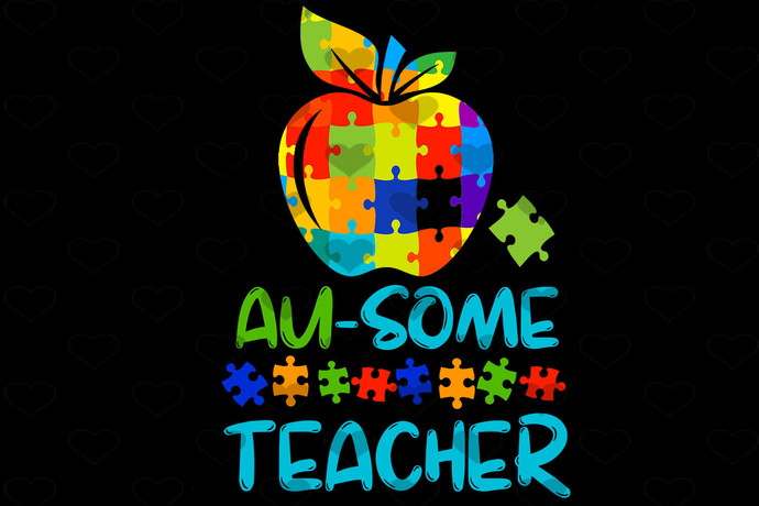 Apple Au Some Teacher Autism Support PNG, Instant Download, Sublimation