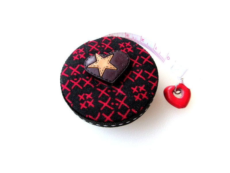 Retractable Tape Measure Red Counted Cross Stitch Design Small Measuring Tape
