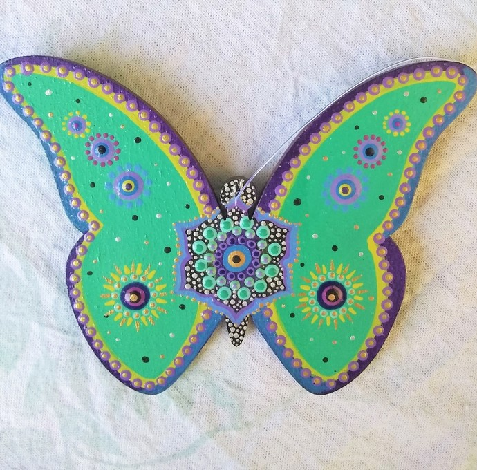 Butterfly Mandala Ornament, Hanging Home Decor Peacock