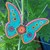 Butterfly Mandala Ornament, Hanging Home Decor Aqua