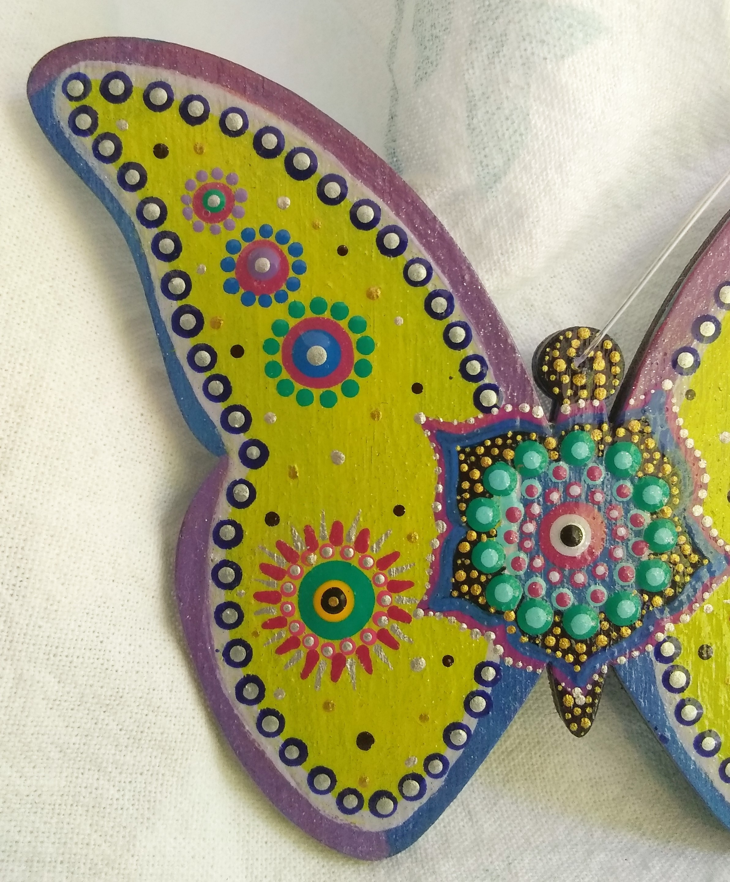 Butterfly Mandala Ornament, Hanging Home Decor Lime