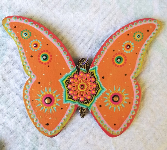 Butterfly Mandala Ornament, Hanging Home Decor Tangerine