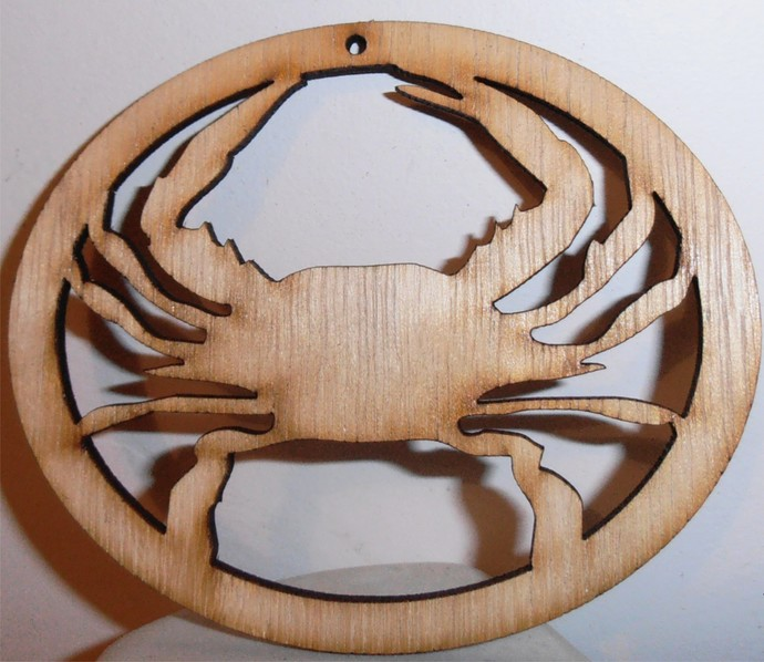 Crab Ornament / Laser Cut Wood