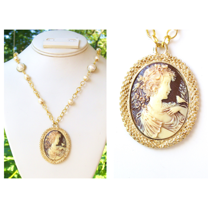 Romantic vintage style cameo necklace with creamy faux pearls and a vintage