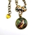 Yellow, brown and green bird art pendant, limited edition handcrafted art