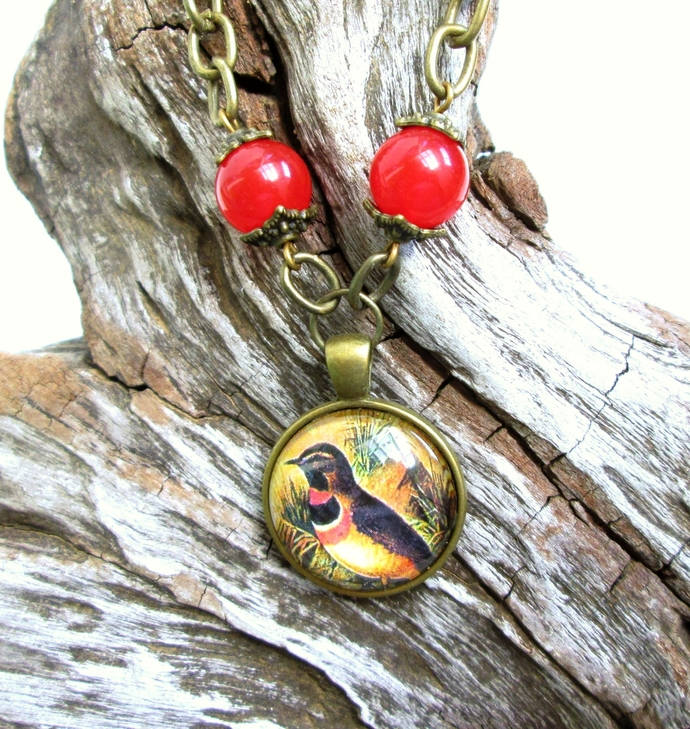 Brown, Yellow and orange vintage style bird art pendant, limited edition