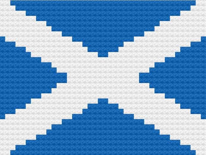 Scottish Flag C2C Crochet Pattern Corner to Corner Baby Blanket St Andrews Cross