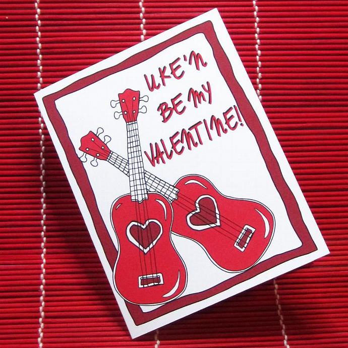 Ukulele Valentine Card U0027Ukeu0027n Be My Valentineu0027