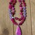 24 Inch Beaded Necklace with pendant, Hot Pink, Laguna Lace Agate, Jewelry Gifts