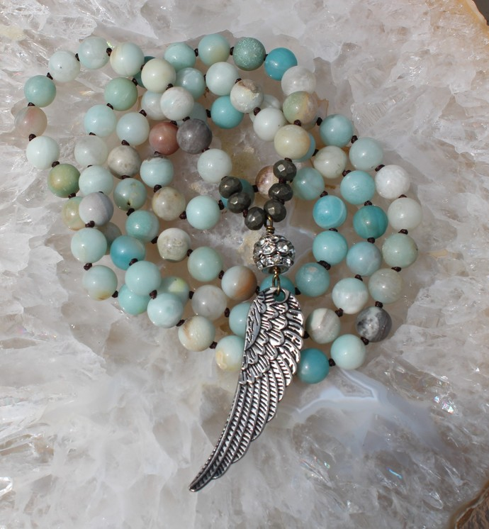 Angel wing, Long Beaded Necklace, by knottedup, Hand knot jewelry, gifts for her