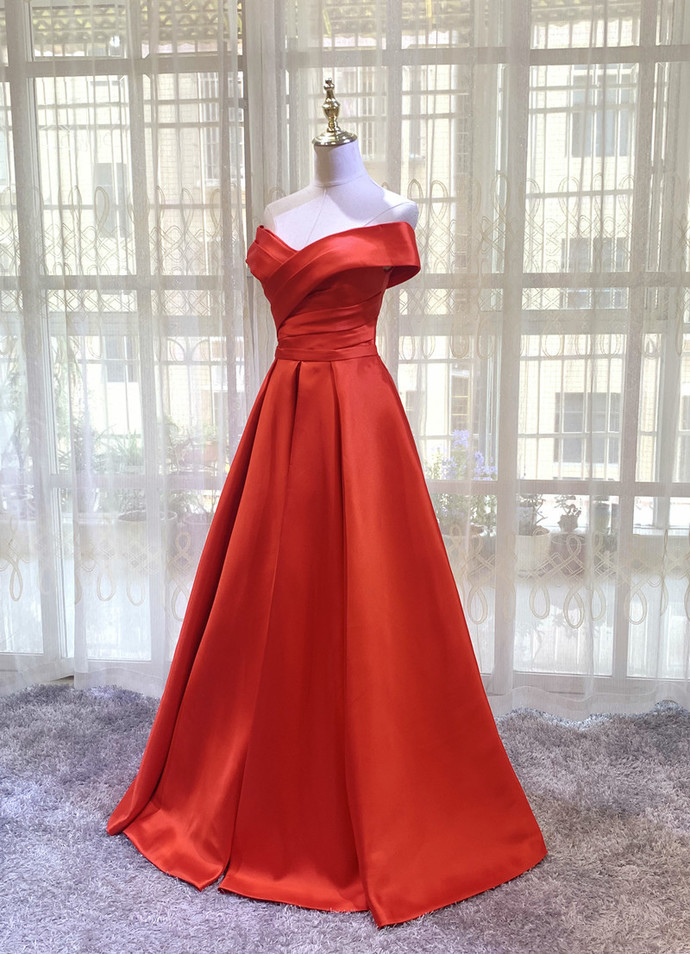 Red Sweetheart Satin Long Simple Junior Prom Dress, New Red Evening Gown