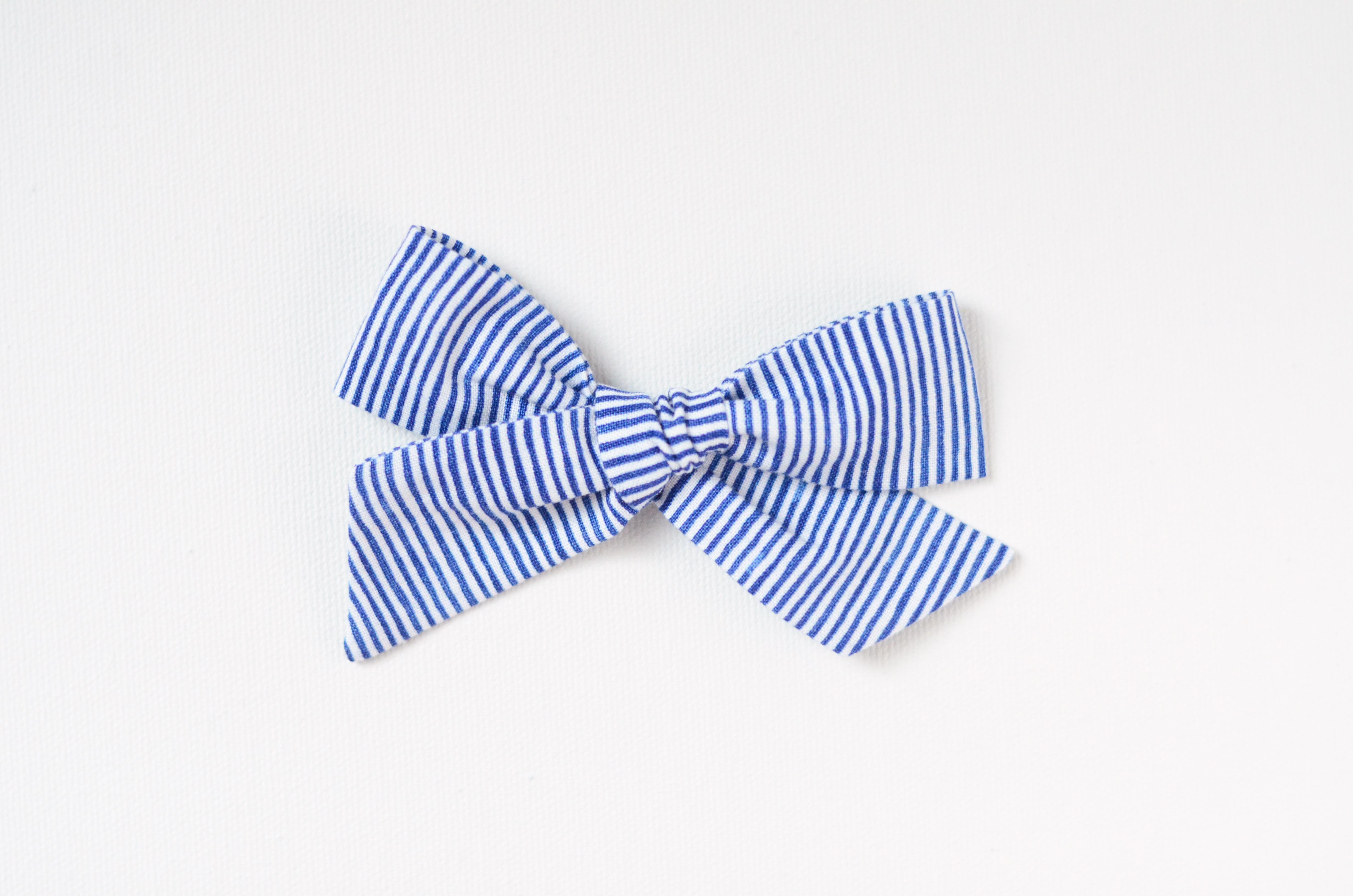 Medium Lizzy Bow - Navy Pinstripes
