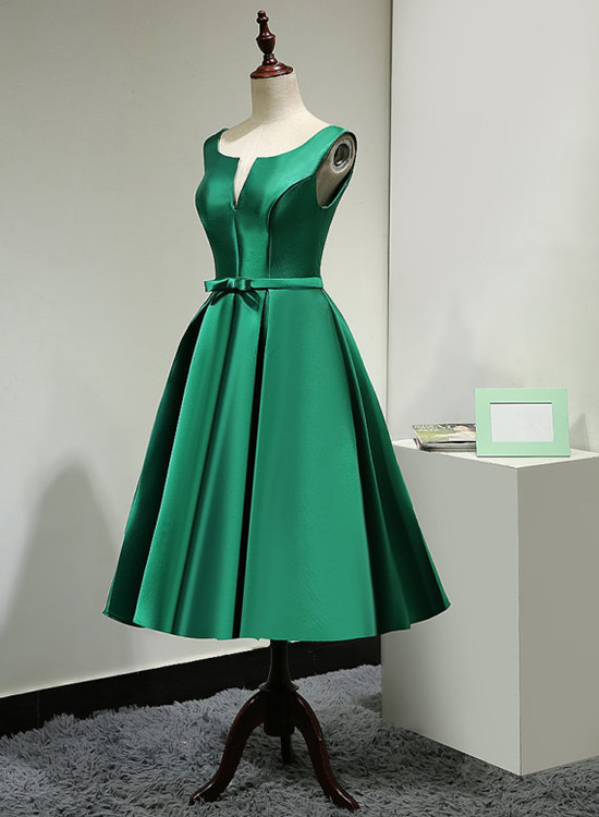 Green Vintage Style Tea Length Bridesmaid Dress, Short Party Dress Homecoming