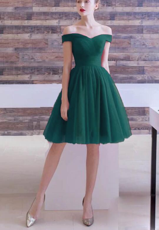 Dark Green Simple Cute Tulle Sweetheart Homecoming Dress, Short Tulle Prom Dress