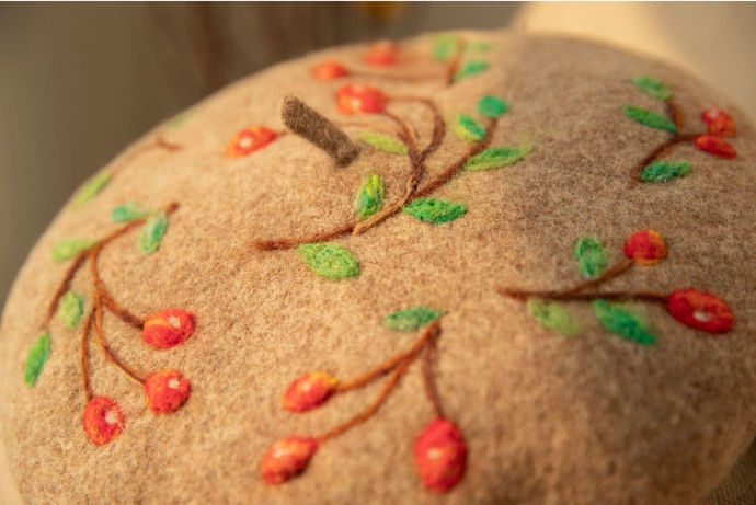 Needle Felted French Beret Hat: Red Fruits